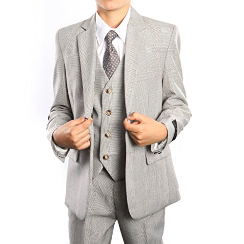 Boys 3-Piece Glen Plaid Tuxedo Suit Set with Free Matching Shirt & Tie (20,Sand)