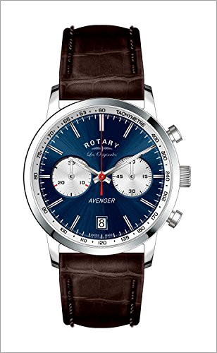 Rotary Watches Men's Avenger Sport Blue Dial Brown Leather Strap watch GS90130/05