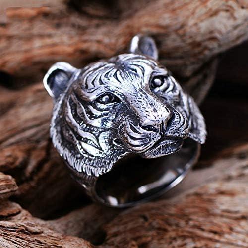Amody Sterling Silver Ring Thumb Punk Rock Tiger Head Ring 29MM Fashion Ring Vintage Size N 1/2-X 1/2