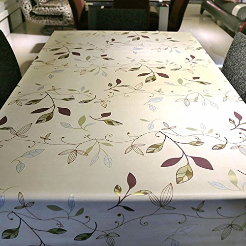 LeeVan Heavy Weight Vinyl Rectangle Table Cover Wipe Clean PVC Tablecloth Oil-proof/Waterproof Stain-resistant/Mildew-proof - 54 x 78 Inch (Autumn Leaves)