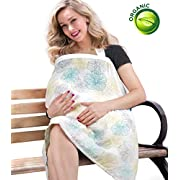 BONTIME Nursing Cover - Premium Organic Bamboo Cotton Breastfeeding Cover, Multi Used for Nursing Blanket Full Coverage to Protect Your Privacy,Floral Blossom