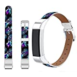 Jolook for Fitbit Alta HR Band Leather Pineapple,Jolook Replacement Leather Wristband Straps Bands for Fitbit Alta HR /for Fitbit Alta - Marble Galaly Pineapple Band