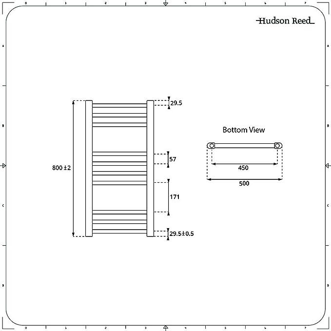 100 cm x 100 cm Hudson Reed Kent S/èche-Serviettes Design /Électrique Moderne Plat Chrom/é