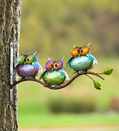 - Plow & Hearth 3 Metal Owls on Branch Wall Art