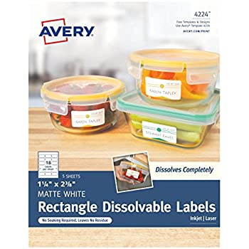 """Avery Dissolvable Rectangle Labels, 1-1/4"""" x 2-3/8"""", Pack of 90 (4224)"""