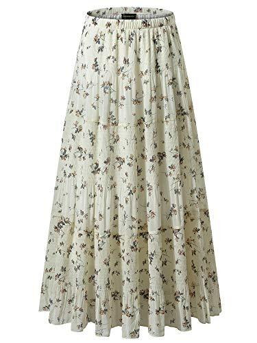 - NASHALYLY Women's Chiffon Elastic High Waist Pleated A-Line Flared Maxi Skirts (L, Flower-203)
