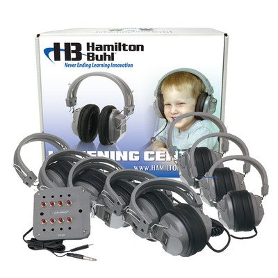 HamiltonBuhl Listening Center, 8 Station Jackbox with Volume, Deluxe Headphones with Laminated Carry Box ()