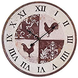BEW Decorative Wall Clock, Large Rustic Rooster Clock with Roman Numbers, Indoor Silent Frameless Wood Farmhouse Clock for Living Room, Restaurant, Kids Bedroom, Kitchen, Apartment, Cafe 24-Inch