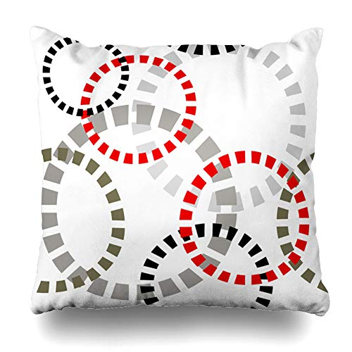 Ahawoso Throw Pillow Cover Abstract Gray Dotted Rings Retro Pattern Round Red Black Bubble Circle Color Colour Design Decorative Pillowcase Square Size 20