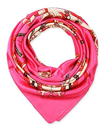 "corciova Elegant Women's Neckerchief Silk Feeling Satin Square Scarf Wrap 35"" Chain Irovy and Deep Pink"