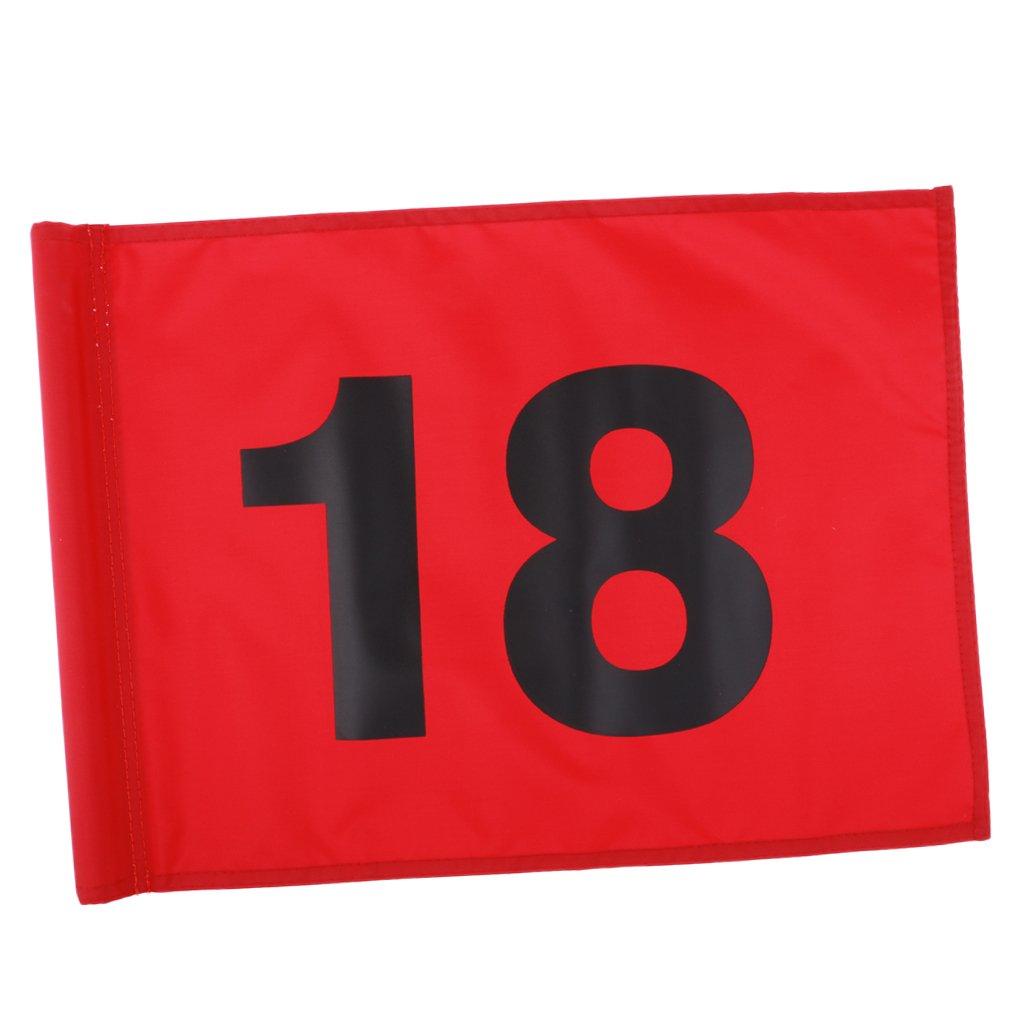 baoblazeナイロン番号付き1または18ゴルフPutting Green Flag Golferトレーニング練習マーカーギアアクセサリー51 x 36 cm/20 x 14インチ  Red with Number 18 B07DRJWW37
