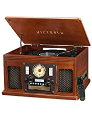 Victrola Navigator 8-in-1 Classic Bluetooth Record Player with USB Encoding and 3-Speed Turntable, Mahogany