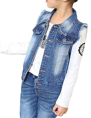 MYtodo Girl Cowboy Vest Denim Children Sleeveless Waistcoat Jacket (10-11 Years)