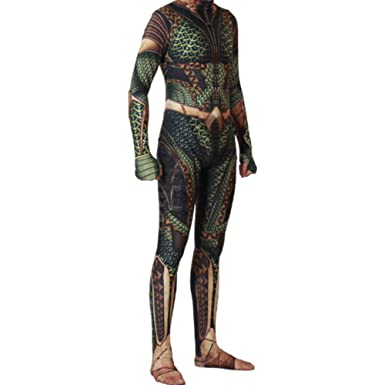 a797f758dd0e Amazon.com  COSMOVIE Aquaman Jumpsuit Halloween Cosplay Costumes Arthur  Curry Zentai 3D Muscle Bodysuit Dress Up  Clothing