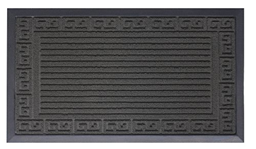 Small Greek Key (OVERSIZE Doormat Shoe Scraper Easy Clean Soft Texture Greek Key Design Black)