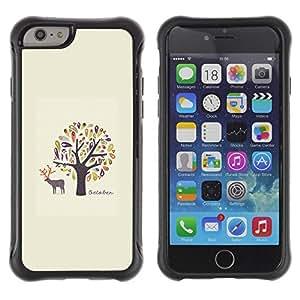 LASTONE PHONE CASE / Suave Silicona Caso Carcasa de Caucho Funda para Apple Iphone 6 PLUS 5.5 / Birds Owl Minimalist Deer Nature