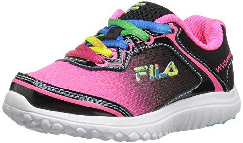 (Fila Girls' Aurora Skate Shoe, Knockout Pink/Black/White, 3 M US Little Kid)