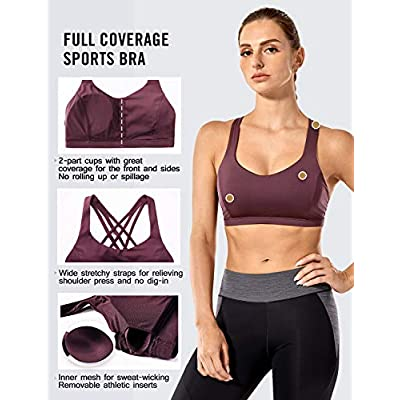 CRZ YOGA Women's Strappy Sports Bra Full Coverage Padded Supportive Cute Workout Yoga Bra Tops Sexy Back C/D Cup at Women's Clothing store