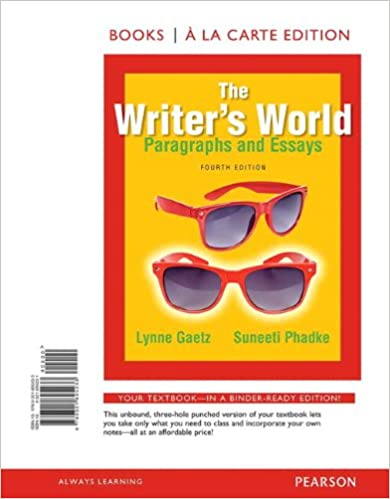The writer world paragraphs and essays answers
