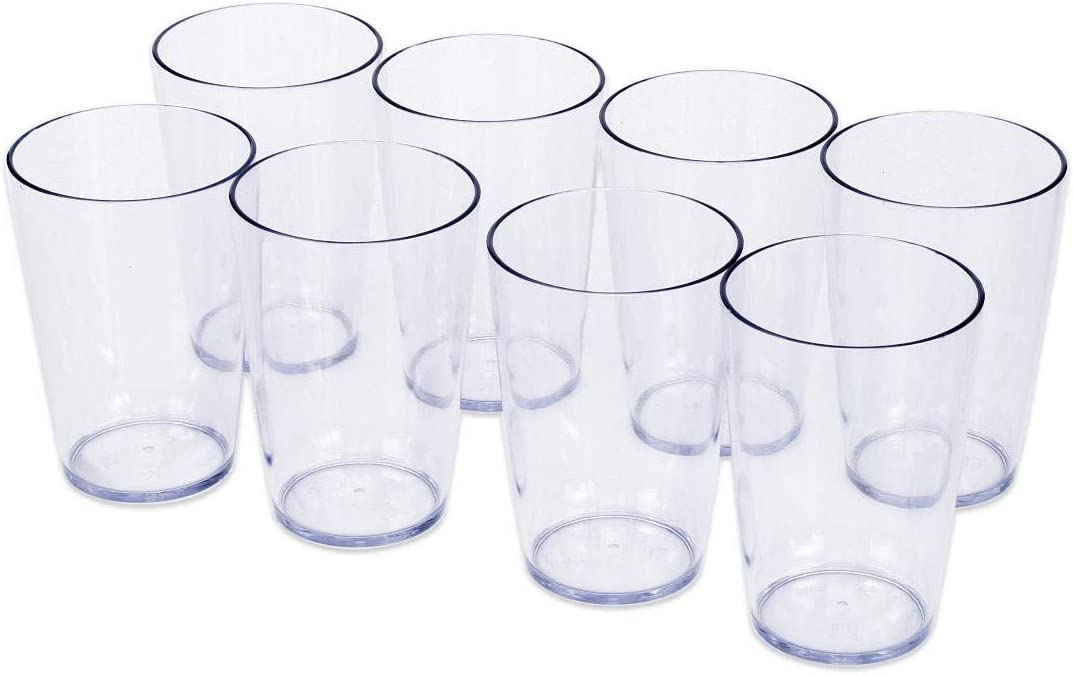 Klickpick Home 14 Ounce - 8 Piece Premium Quality Acrylic Plastic Beverage Tumblers Reusable Drinking Cups Dishwasher Safe
