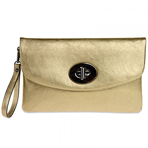 Envelope Gold CASPAR TA339 Metallic Women Clutch FBBwU8vqz