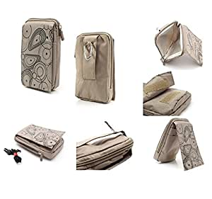 DFV mobile® - Multi-functional Vertical Stripes Pouch Bag Case Zipper Closing Carabiner for => Ramos MOS1 > BEIGE (16 x 9.5 cm)