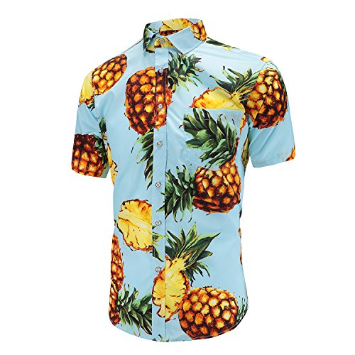 Dioufond Mens Pineapple Flower Casual Button Down Short Sleeve Aloha Hawaiian Shirt
