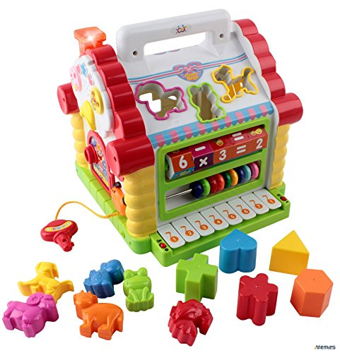 Memtes Musical Activity Cube Educational Play Center Toy, Shape Sorter Toy with Tons of Functions & Skills - Great Gift Toys for 1 Year Old