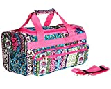 Cheap 19″ Pink Patchwork Boho Duffle Carry On Dance Cheer Travel Tote Gym Luggage