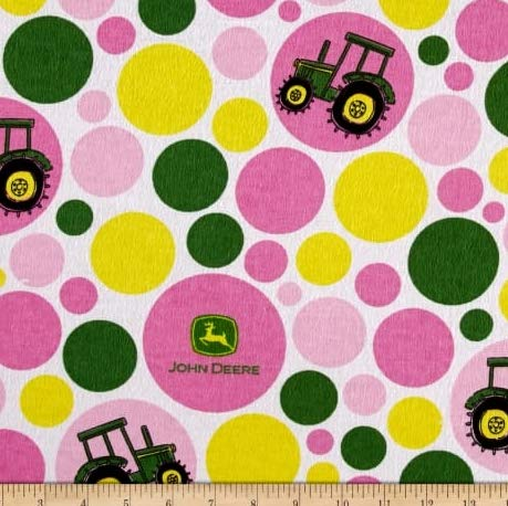 1 Yard - John Deere Pink Polka Dot Flannel Fabric - Officially Licensed (Great for Quilting, Sewing, Craft Projects, Throw Blankets & More) 1 Yard X ()