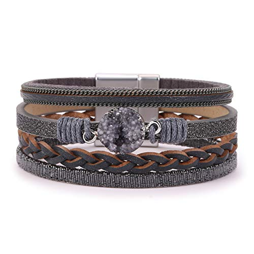 KSQS Boho Multilayer Leather Wrap Bracelets Gorgeous Handmade Braided Wrap Cuff Magnetic Buckle Casual Bangle for Women&Girl Gift