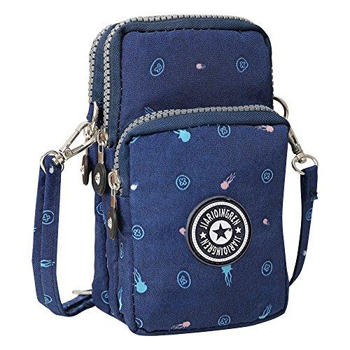 Wocharm Womens Mini 3 Layers Crossbody Shoulder Messenger Handbag Wristlet Purse Jellyfish