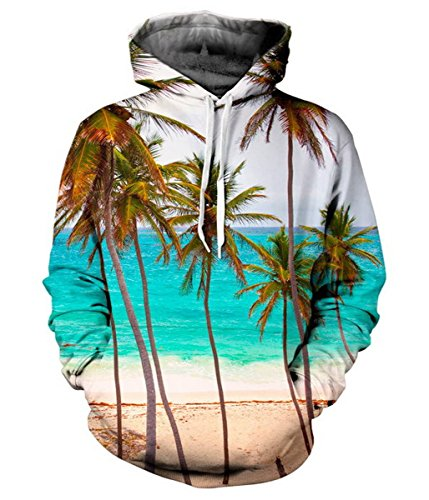 RedBeana Unisex Hawaii Palm Tree Print Hoodie Pullover Sweatershirt Multi Color Small