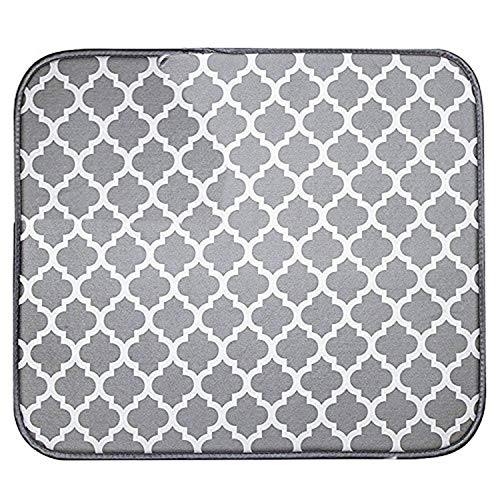 Dish Mat (Microfiber Dish Drying Mat for Kitchen, Quickly Absorb Moisture White Trellis Drainer Mat, 16 x 12 Inch)