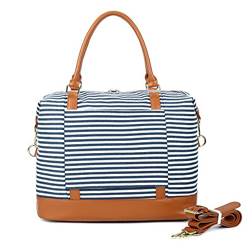 CAMTOP Women Ladies Weekender Travel Bag Canvas Overnight Carry-on Duffel Tote Luggage (Blue) by CAMTOP (Image #7)