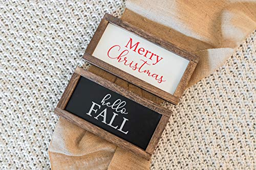 Cam n Honey Reversible Hello Fall/Merry Christmas Rustic Wood Sign-Farmhouse Home Thanksgiving and Holiday Decor