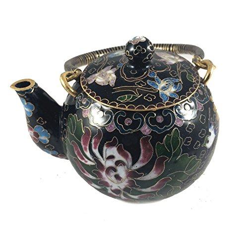 Chinese Vintage Cloisonne Tea Pot Bronze Brass Copper Enamel Collectible Decor