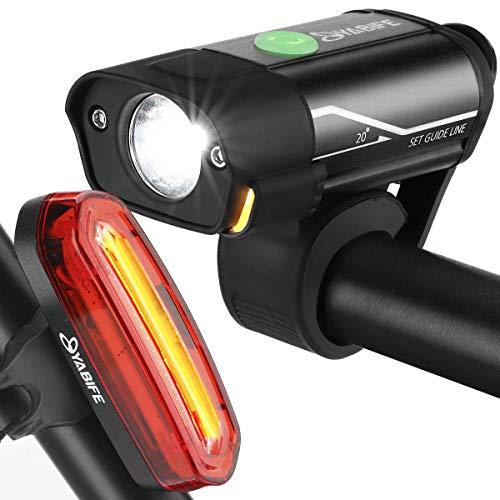 Yabife Bicycle Light, USB Rechargeable Bike Lights Front and Back, 350 Lumens Bike Headlight + 120 Lumens Rear/Tail Bike Light Set, for Road Bike Cycling, Mountain Bike, Men, Women, Kids