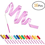 PAMASE 16 Packs Kids Dancing Gymnastics Ribbon Wands, 6'6'' Rhythmic Artistic Twirling Streamers with Non-Slip Handle