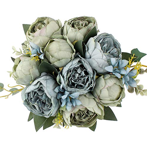 Jim`s Cabin Artificial Flowers Fake Silk Peony Flower Bouquet Floral Plants Decor for Home Garden Wedding Party Decor Decoration (Blue Green) from Jim`s Cabin