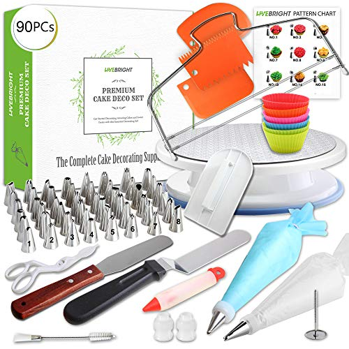 90 Pcs Cake Decorating Supplies Set | Turntable Stand | 48 Numbered Cone Tips | Cake Board & Leveler | 2 Spatula | 21 Icing Bags | 2 Coupler | -