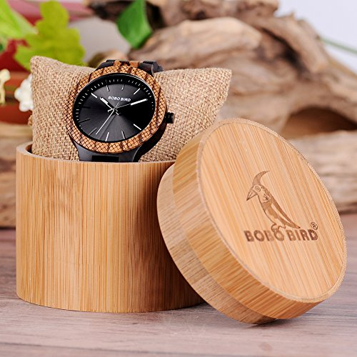 BOBO BIRD Men's Retro Zebra Wooden Watch, Large Size Quartz Watch with Black Face Wristwatch Best Gift