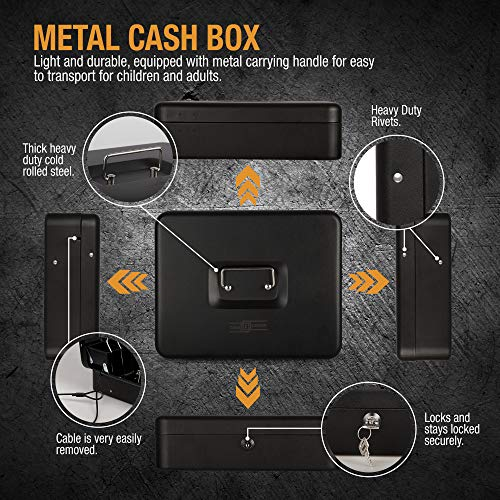 Cash Box with Money Tray- Safe Metal Lock Box- Locking Boxes with Key- Large Storage Lockbox with Safety Holder- Money Saving Organizer- Security Box with Coin Tray Lid Photo #7