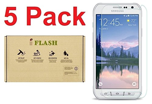 [5 Pack Promotion] iFlash Tempered Glass Screen Protector For Samsung Galaxy S6 Active (NOT S6 Model) - Crystal Clear / 2.5D Rounded Edges / 9H Hardness / Scratch Proof / Bubble Free / Oleophobic