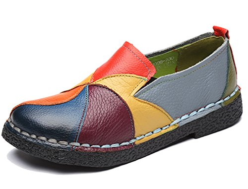Clarsunny Womens Casual Genuine Leather Handmade Loafer Flat Shoes Multi Color