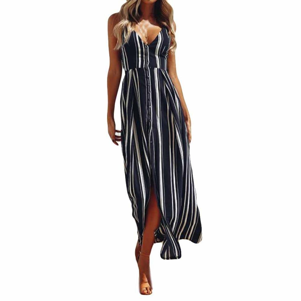 vermers Summer Women V-Neck Stripe Maxi Long Dress Backless Cocktail Party Sundress (S, Navy)