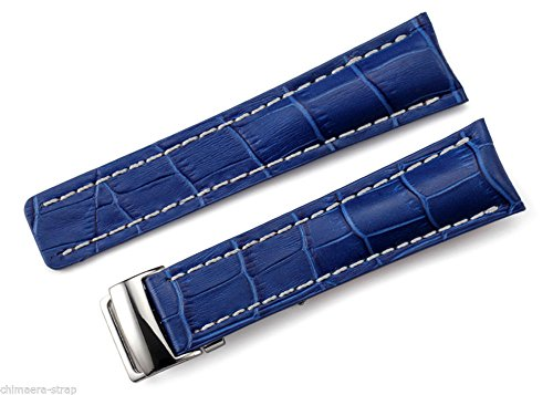 24mm Blue Leather Watch Strap With Deployment Buckle/Clasp For - Breitling Clasp Deployment
