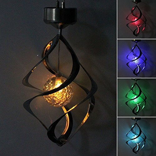 StillCool Solar Wind Chime LED Colour Changing Hanging Wind Light Waterproof Spiral Spinner Lamp For Garden Yard Lawn Balcony Porch (Wind Spinner Ornament)