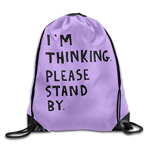ZARRHOUSE Sack Bag I'm Thinking Please Stand By School Beam Mouth Backpack Men's Women's Print Shoulder Drawstring Bag Backpack String Bags School Rucksack Gym Handbag 16.9