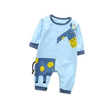 2fa99a26bea9 Amazon.com  ALLAIBB Newborn Baby Boy Girl Long Sleeve Romper Giraffe ...